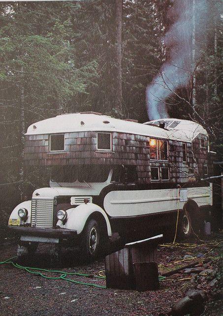 Houten huis bus